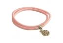 Roze rubberen armband met bedel